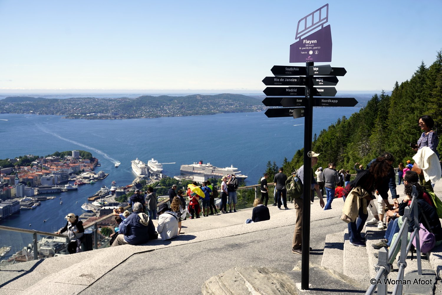 Bryggen is not the only attraction in Bergen! Learn about hiking opportunities and see fabulous views from the top of Mt. Ulriken and Mt. Fløyen at AWOMANAFOOT.COM. |What to do in Bergen, Norway | Urban hiking Bergen | Best views of Bergen | Active experiences in Bergen | Norwegian mountains | hiking trails | Urban adventure | #Bergen #Norway #Ulriken #Floyen #Mountains #Adventure #Hiking #BestDestinations