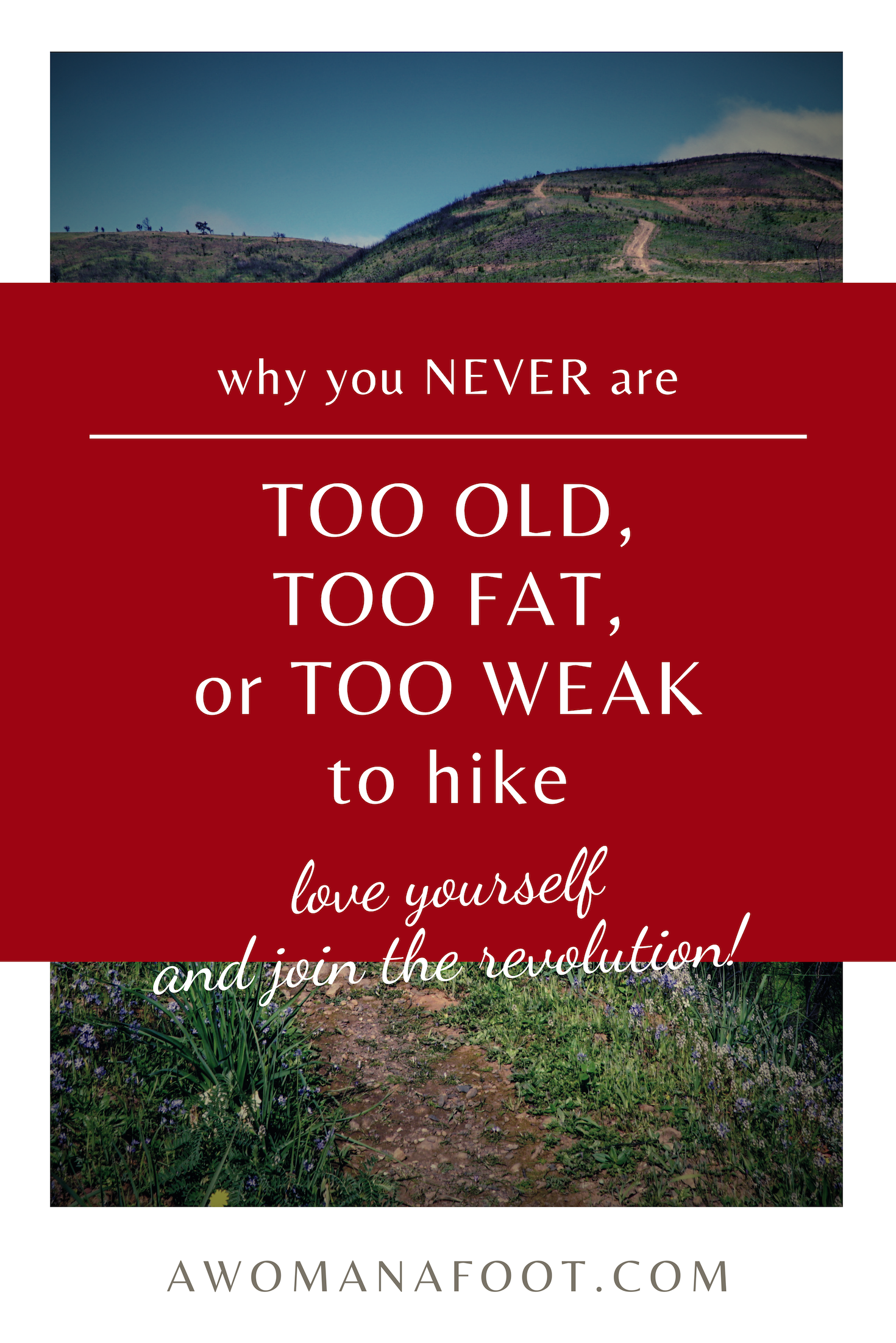 You DO belong in the Outdoors - no matter what others say. Enjoy the benefits of hiking no matter your size, gender, age, looks or socio-economic status. Join the revolution! | Health at every size | Body positive | Feminist Hiker | Hiking solo | Queer Hikers | Self acceptance | #hiking #feminist #BodyPositive #WomenHikers | awomanafoot.com