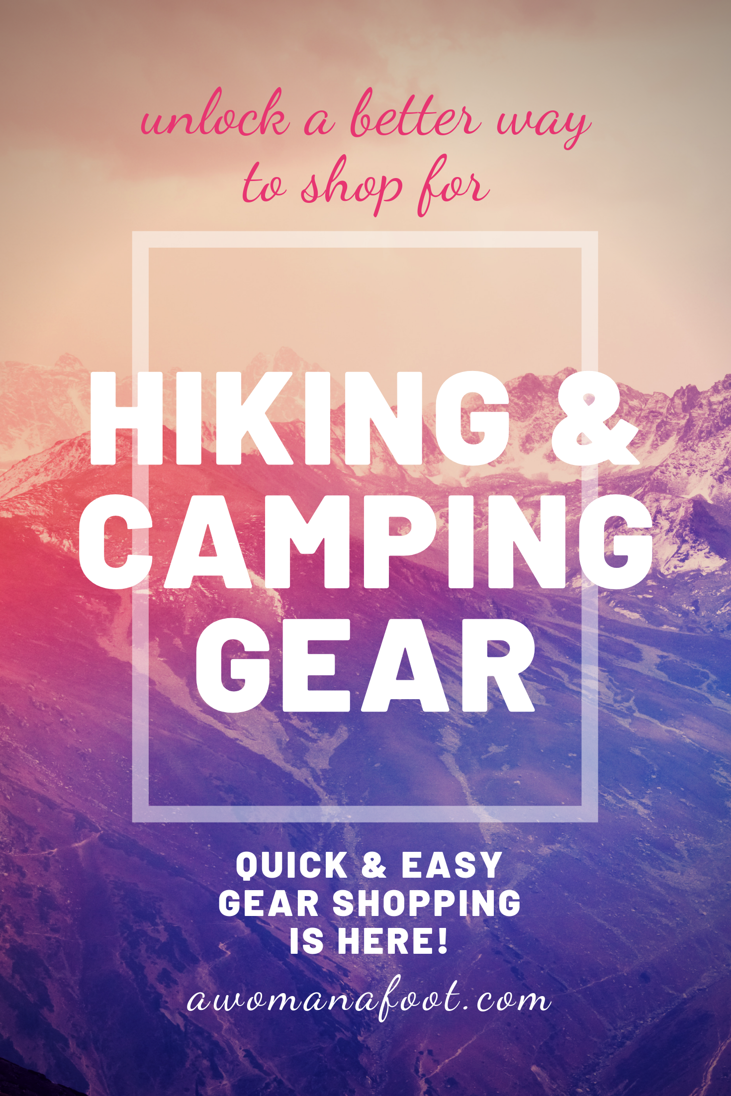 Tired of wasting hours upon hours browsing through Outdoors stores? Not sure what gear is worth your money? I'm here to help! Only what you need and only the best for your hiking & camping adventures - awomanafoot.com | Hiking | Camping | Outdoors | Shopping | Female active attire | Clothing for female hikers | Backpacking | Trekking | Shopping Hacks | #Hiking #Camping #Gear #ShoppingHacks #femalehikers #trekking