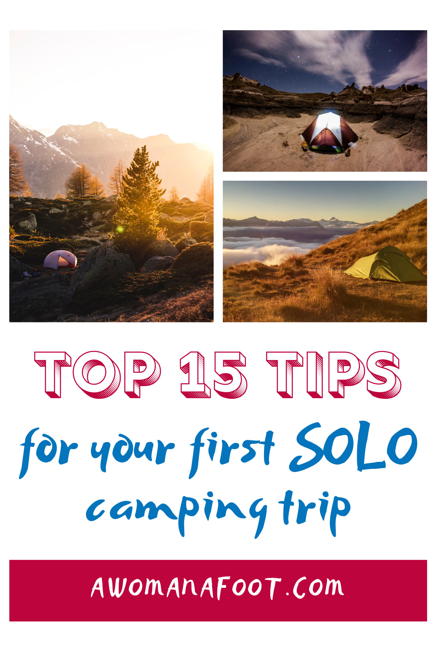 Fall in Love with Camping Solo with these 15 awesome tips! Check how to prepare and what to take for your first solo (wild) camping adventure! Guide to solo camping and hiking for women. awomanafoot.com | female solo hiking | camping tips | trekking | camping for women |#camping #solo #CampingSolo #CampingTips #Camping101 #CampingGear #CampingEssentials