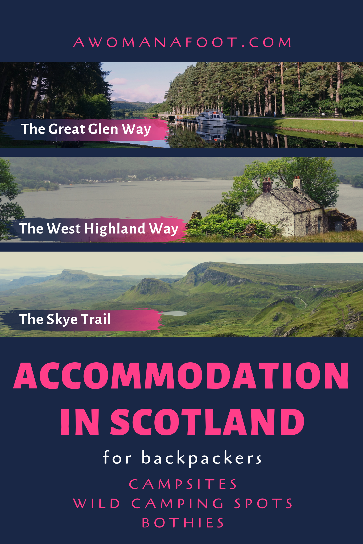 Thinking about hiking in Scotland? Find out about your accommodation options @ AWOMANAFOOT.COM! Learn where you can find a campsite, where you can wild camp or sleep at a bothy! Campsites in Scotland | Hiking destinations in Europe | Hiking Scottish Trail | Where to camp on West Highland Way | Campsites on Great Glen Way | Wild Camping on the Isle of Skye | Accommodation | #camping #campsites #Scotland #Skye #WHW #WestHighlandWay #GreatGlenWay #SkyeTrail #bothies #wildcamping