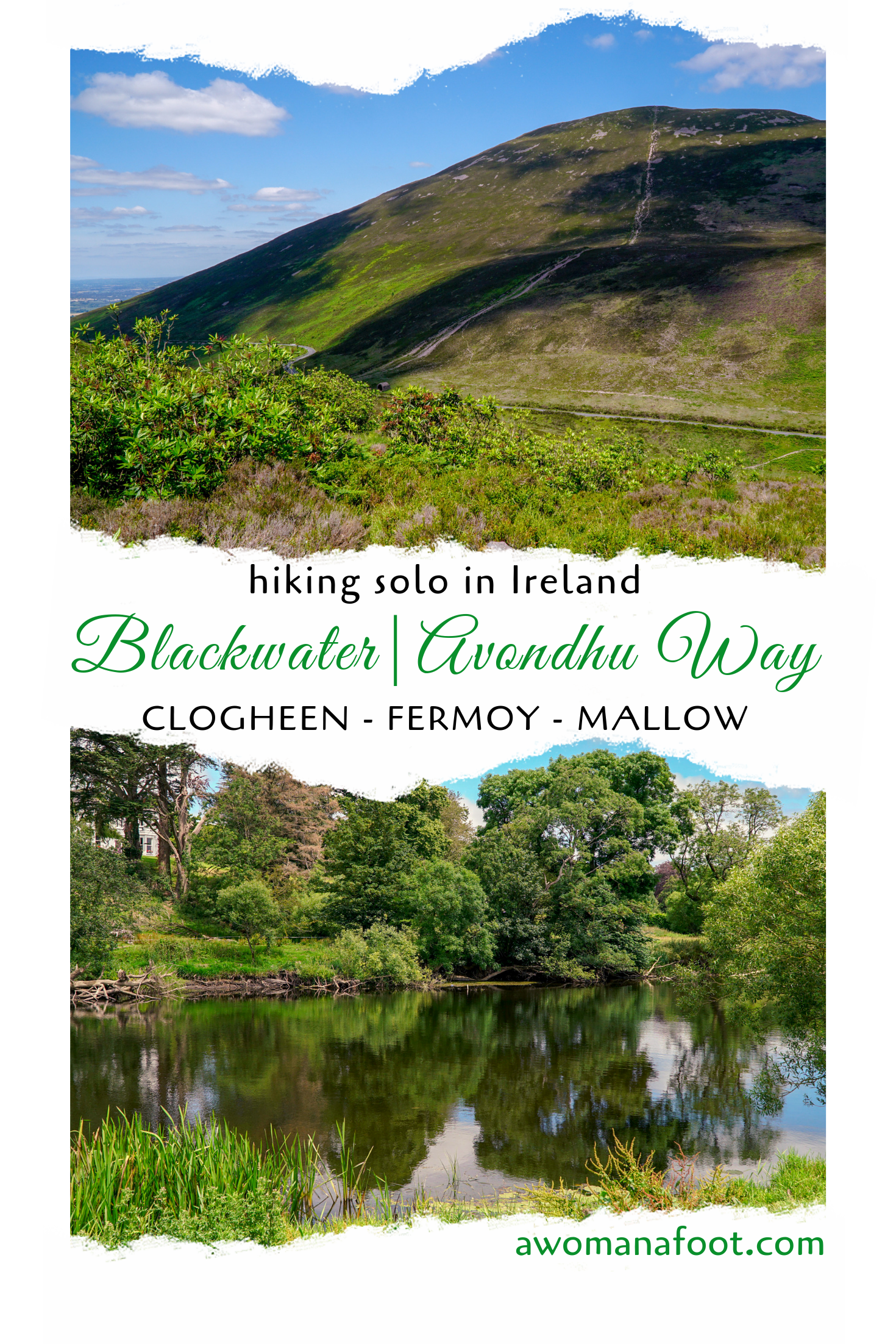 Hiking Solo in Ireland: a fantastic start to a great Irish adventure on the Blackwater/Avondhu Way in Cork @awomanafoot.com. | Hiking Trails in Ireland | Active holidays in Ireland | Clogheen -Killworth Fermoy - Ballyhooly - Mallow| Female hiking alone | Camping in Ireland | #Hiking #Ireland #HikingTrail #FemaleSoloHiker #Adventure #EuropeanTrails