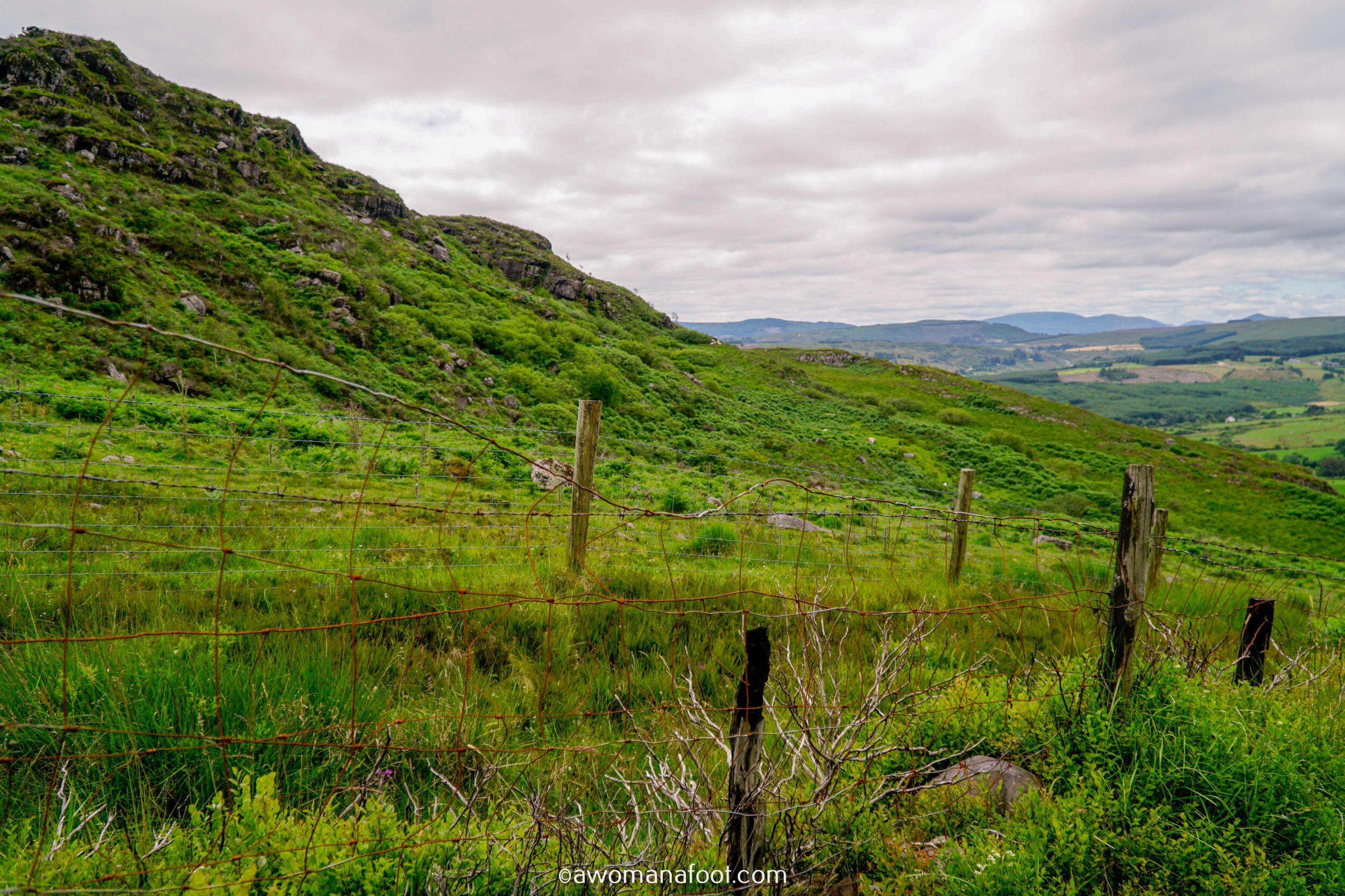 Hiking Solo the beautiful Sli Gaeltacht Mhuscrai trail in Ireland! First part: from Millstreet to Ballyvourney @ awomanafoot.com | Irish Trails | Hiking in Ireland | Active holidays in Ireland | West Cork Trails | Female Solo Hikers | European Trails | #Ireland #Hiking #FemaleSoloTravel #Trails #SliGaeltachtMhuscrai #Cork #HikingSolo