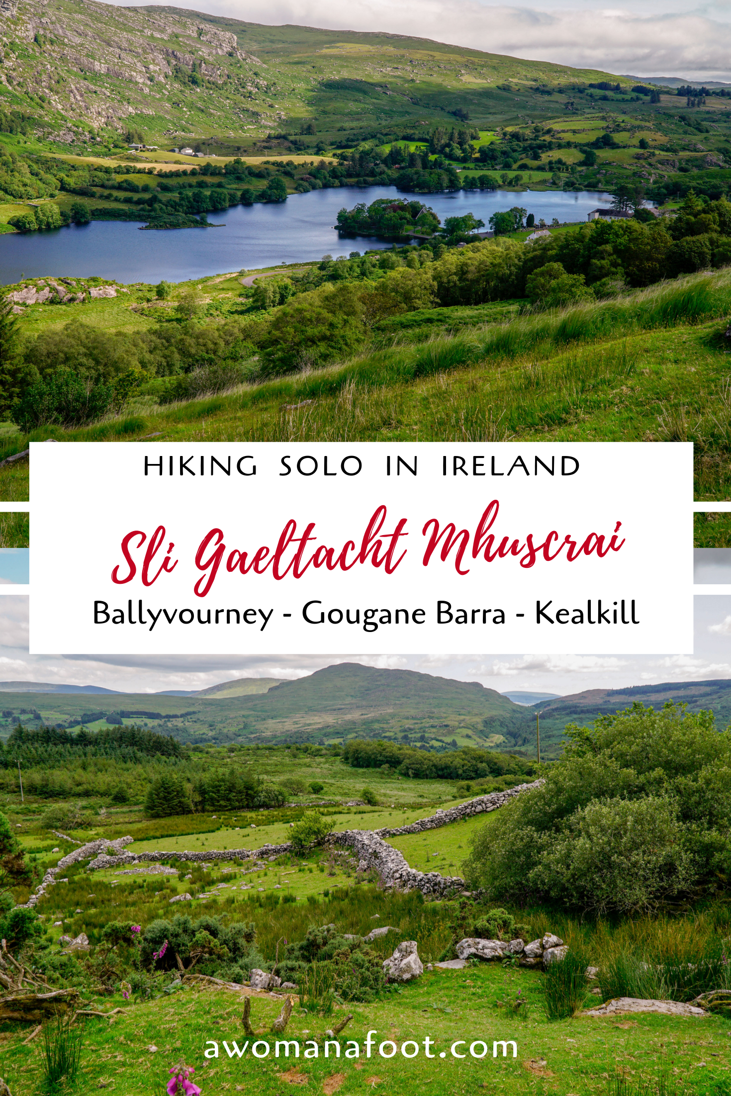 From Ballyvourney to Kealkill - stunningly beautiful hiking trail in Cork, Ireland. Check out the 2nd part of the fantastic Sli Gaeltacht Mhuscrai trail @ awomanafoot.com! Hiking trails in Ireland   Hiking solo in Ireland   Active holidays in Europe   European long-distance walking   British Isles   #hiking #Ireland #Cork #FemaleSolo #Trail #IrishDestination #Adventure