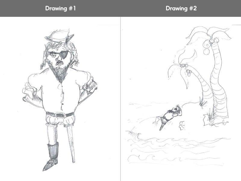 We get so much more in the second drawing than a character—we get a story.