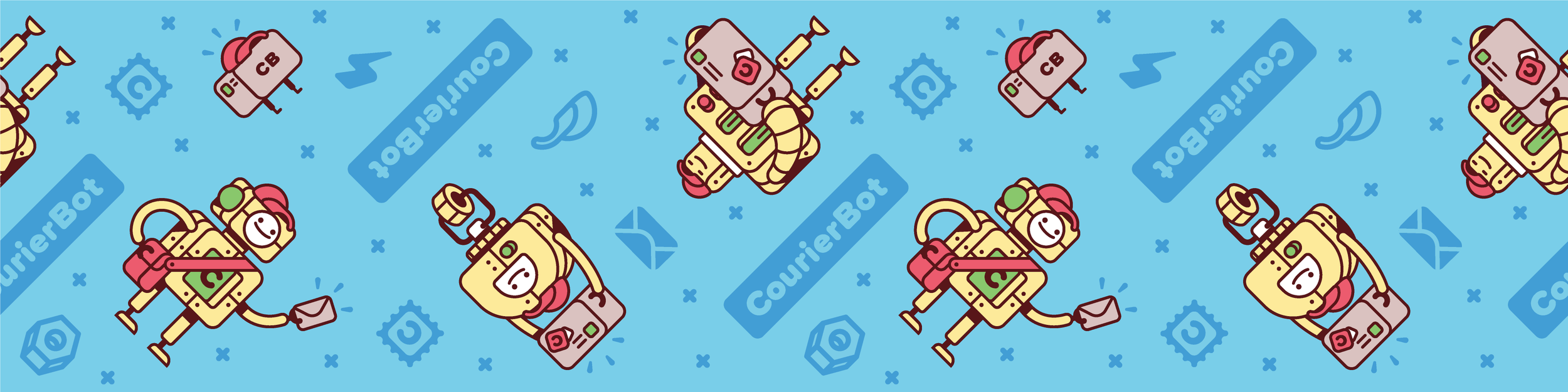The repeating CourierBot pattern I created for Sticker Mule's tutorial on designing and printing custom packaging tape.
