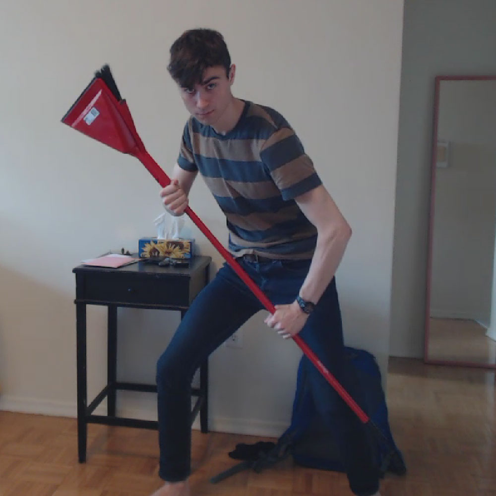 Sometimes your work demands of you to pose with a broom in your living room. You cherish those moments.