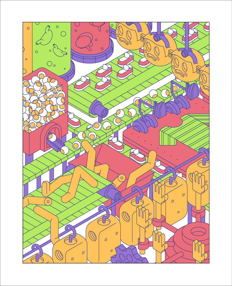 Originally I was going to use a stroked approach for the design. At this stage of development you can see me experimenting with different values for both the linework and fill colours. Ultimately, I decided to remove the lines, ramp up the complexity and apply the style you see in the final design.