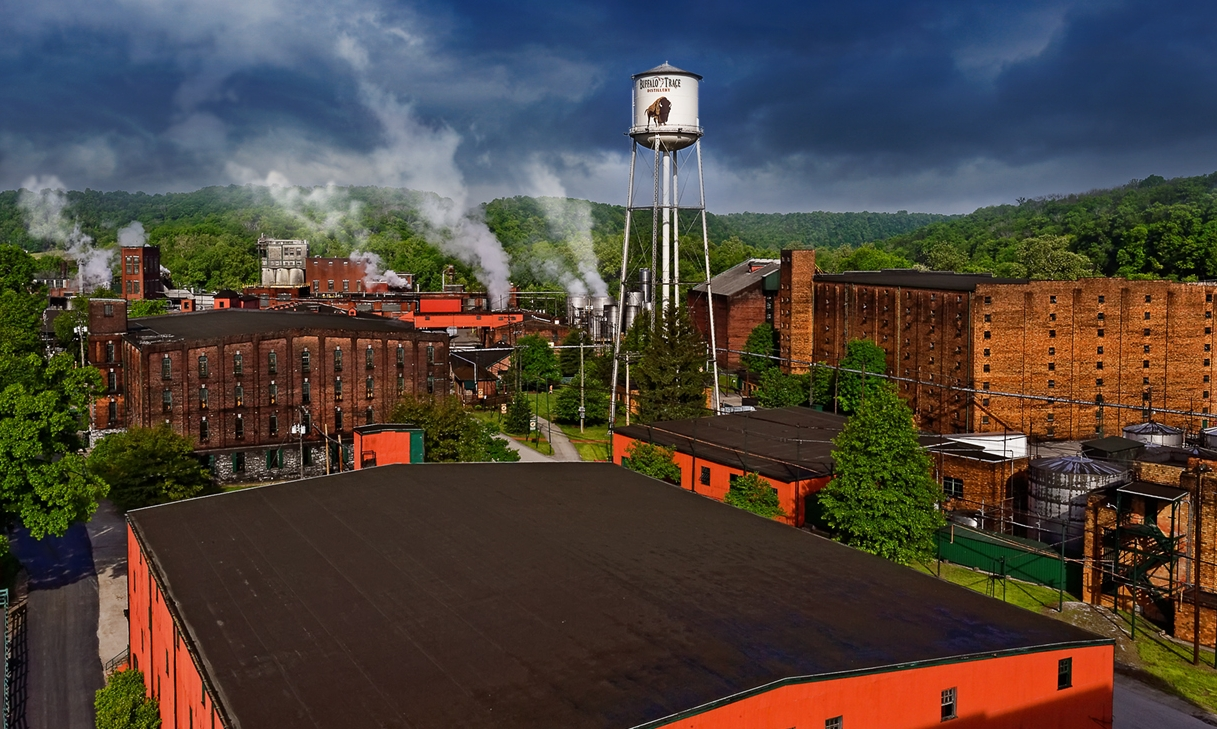 I picturesque view of the   Buffalo Trace Distillery   nested in foothills just outside Frankfort, Kentucky.