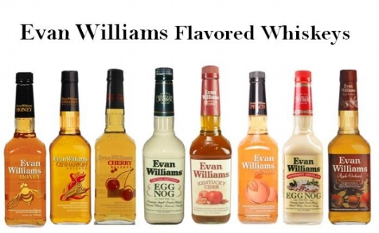 Evan Williams Flavored Whiskey line from left to right;   Evan Williams Honey, Evan Williams Cinnamon Whiskey, Evan Williams Cherry Whiskey, Evan Williams Egg Nog, Evan Williams Kentucky Cider, Evan Williams Peach Whiskey, Evan Williams Peppermint Chocolate Egg Nog   and   Evan Williams Apple Orchard  .