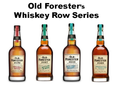 """Old Forester   was the first Bourbon ever sealed in a bottle by named after Louisville Surgeon   Dr. William Forrester.   Beginning in 2015   Brown-Forman   released the   """"Whiskey Row Series""""   with a different recipe each year for four years. The first release is exactly the same recipe that George Garvin Brown used in 1870. Pictured above from left to right;   Old Forester 1870 Original Batch   (Red Tax Stamp, 90 Proof),   Old Forester 1897 Bottled-in-Bond   (Green Tax Stamp, 100 Proof),   Old Forester 1910 Old Fine Whiskey   (Light Blue Tax Stamp, 93 Proof), and   Old Forester 1920 Prohibition Style   (Teal Tax Stamp, 115 Proof)."""