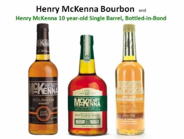 Three versions of Henry McKenna Bourbon (from left to right);   Henry McKenna Sour Mash  ,   Henry McKenna Single Barrel 10 Year-Old Bottled-in-Bond   and   Henry McKenna Table Whiskey.