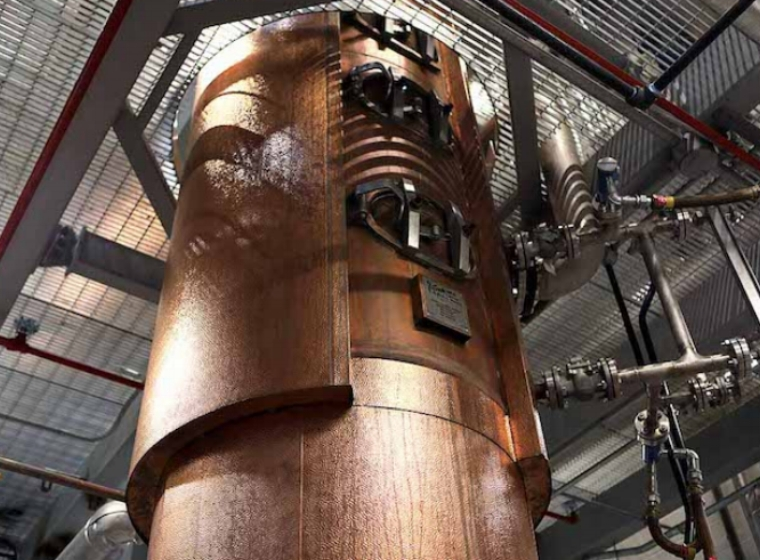 The   52-foot Vendome copper and brass still   at the Bulleit Distillery capable of producing 1.8 million proof gallons annually.