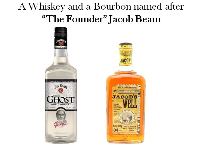 Two brands have been named after the founder of the Beam Distilling Empire Jacob Beam, they are Jacob's Ghost, White Whiskey (aged in a used barrel for only 12 months) and Jacob's Well, an 84 proof Micro-distilled Bourbon.