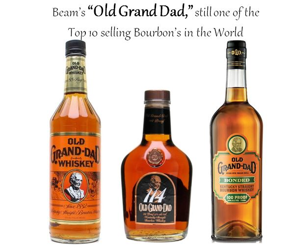 """All three versions of   """"Old Grand Dad""""   display a likeness of   Basil Hayden   on their labels. Those include (left to right);   Old Grand Dad Kentucky Straight Bourbon Whiskey   (80 Proof),   Old Grand Dad 114 Small Batch   (114 Proof) and   Old Grand Dad Bottled-in-Bond   (100 Proof)."""