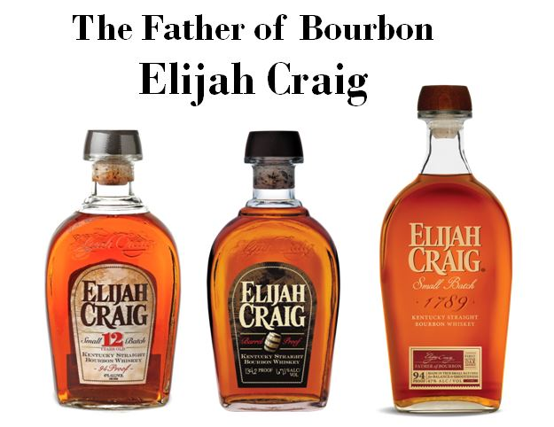 """Elijah Craig,   the   """"Father of Bourbon,""""   has had several brands named after him by Hall of   Fame Master Distiller Parker Beam.   Pictured above from left to right are,   Elijah Craig 12 year-old, Elijah Craig Barrel Proof and Elijah Craig Small Batch."""