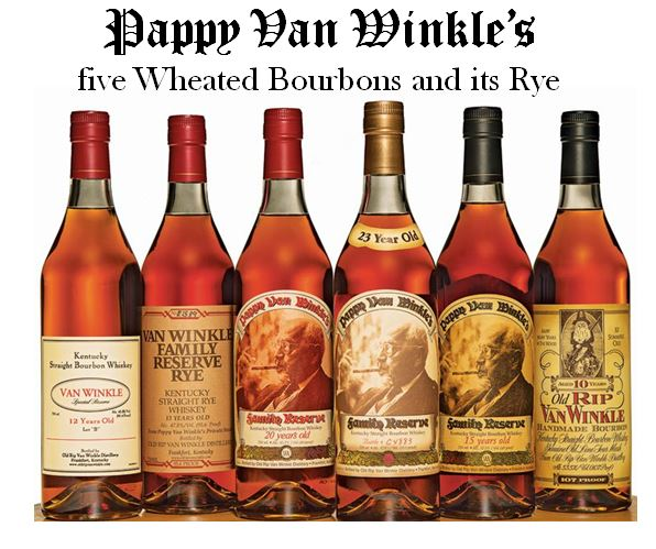 """The Pappy Van Winkle line of whiskey made by Buffalo Trace Distillery. Pictured above from left to right;   Van Winkle Special Reserve 12 Year-Old Lot """"B,"""" Van Winkle Family Reserve Rye, Pappy Van Winkle Family Reserve 20 Year-Old, Pappy Van Winkle Family Reserve 23 Year-old, Pappy Van Winkle Family Reserve 15 Year-old   and   Old Rip Van Winkle 10 Year-old."""