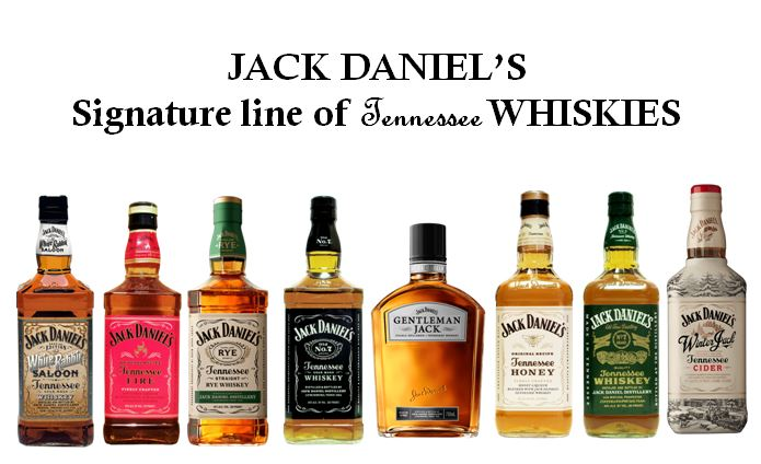 """Jack Daniel's has a """"Signature line of Tennessee Whiskies that include (from left to right);   Jack Daniel's White Rabbit Saloon, Jack Daniel's Tennessee Fire, Jack Daniel's Rye, Jack Daniel's Old No. 7   (Black Label),   Jack Daniel's Gentleman Jack Small Batch, Jack Daniel's Tennessee Honey, Jack Daniel's Green Label   and   Jack Daniel's Winter Jack Tennessee Cider."""