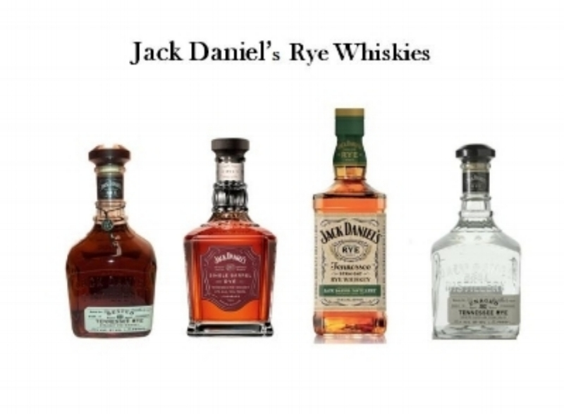 Jack Daniel's has a line of Rye Whiskies that include (from left to right);   Jack Daniel's Rested Rye, Jack Daniel's Select Single Barrel Rye, Jack Daniel's Tennessee Rye   and   Jack Daniel's Unaged Rye.