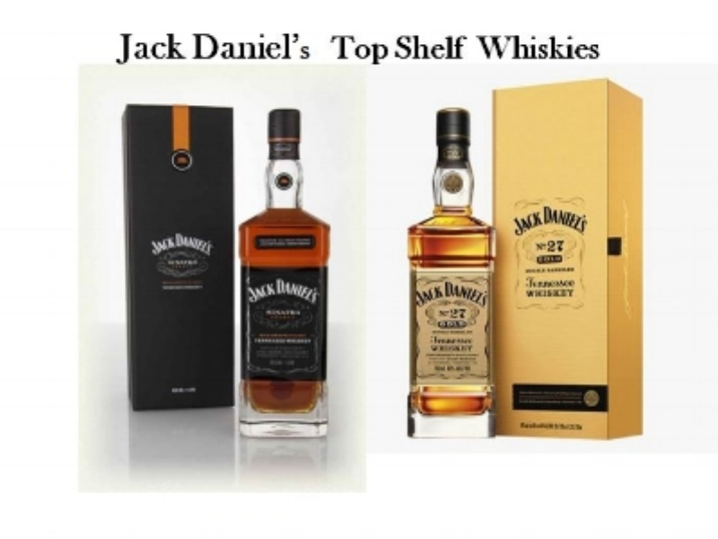 Jack Daniel's has a Two Top Shelf Tennessee Whiskies that include (from left to right);   Jack Daniel's Sinatra Select   and   Jack Daniel's No. 27 Gold.