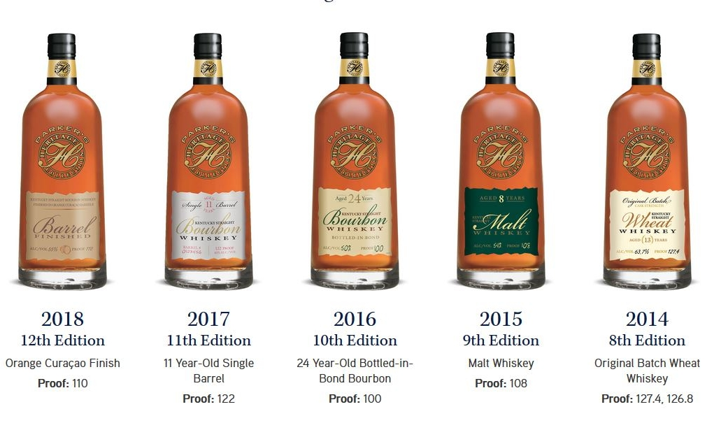 """A line of Top Shelf Bourbon and Whiskey expressions, which are released as Limited Edition every year in honor of one of the greatest minds in Bourbon history,   Parker Beam.   The line is called the   """"Parker's Heritage Collection.   Pictured above from left to right are five of Parker's releases;   2018 Parker's Heritage Orange Curacao Barrel Finished   (12th Edition, 110 Proof),   2017 Parker's Heritage 11 Year-Old Single Barrel   (11th Edition, 122 Proof),   2016 Parker's Heritage 24 Year-Old Bottled-in-Bond Bourbon   (10th Edition, 100 Proof),   2015 Parker's Heritage Single Malt Whiskey   (9th Edition, 108 Proof),   2014 Parker's Heritage Original Batch Wheat Whiskey   (8th Edition, 127.4 Proof)."""