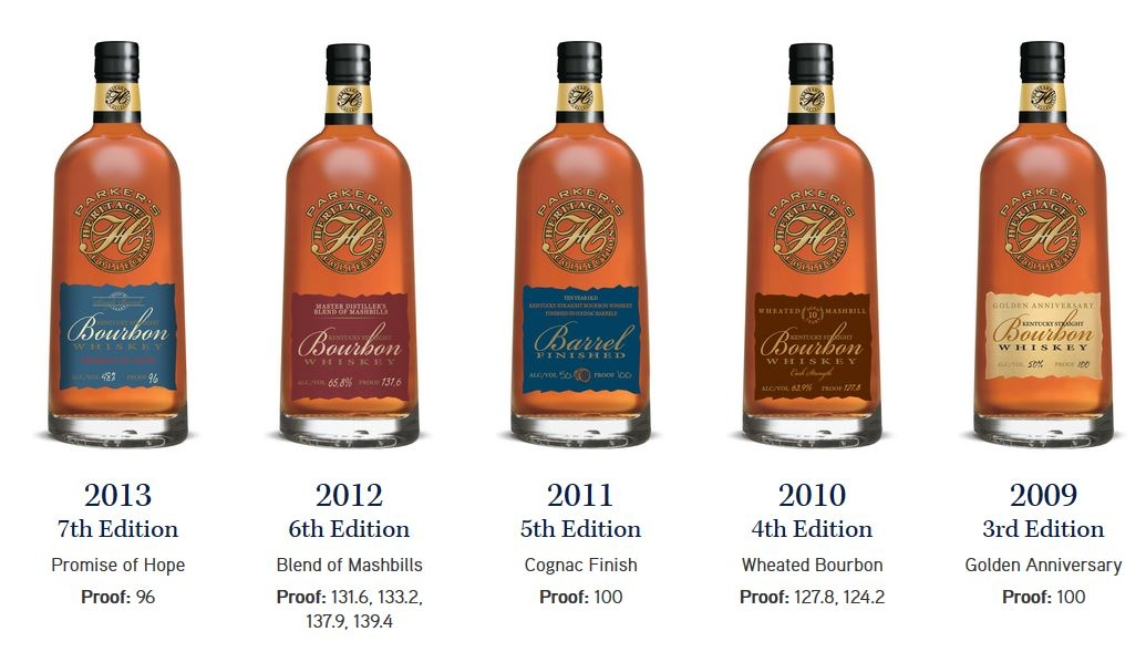 """A line of Top Shelf Bourbon and Whiskey expressions, which are released as Limited Edition every year in honor of one of the greatest minds in Bourbon history,   Parker Beam.   The line is called the   """"Parker's Heritage Collection.   Pictured above from left to right are five of Parker's releases;   2013 Parker's Heritage Promise of Hope   (7th Edition, 96 Proof),   2012 Parker's Heritage Blend of Mashbills   (11th Edition, 131.6 Proof),   2011 Parker's Heritage Cognac Finish   (5th Edition, 100 Proof),   2010 Parker's Heritage Wheated Bourbon   (4th Edition, 127.8 Proof),   2009 Parker's Heritage Golden Anniversary Bourbon   (3rd Edition, 100 Proof)."""