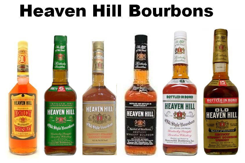 1.) Heaven Hill Kentucky   Blended Whiskey  ;  2.) Heaven Hill   Old Style Bourbon (Green Label)   1990's most Popular Bar Brand  3.) Heaven Hill   Old Style Bourbon (Gold Label)    4.) Heaven Hill  Black Label   5.) Heaven Hill   Old Style Bourbon Bottled-in-Bond (White Label)    6.)   Old Heaven Hill Bottled-in-Bond (Gold Label)   Most Popular Bourbon n Kentucky in 40's and 50's