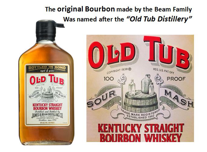 """Old Tub   is the  original Bourbon recipe  which was     that the Beam Family made under the guidance of   David M. Beam   who named the brand after their old distillery. It was   """"Bottled-in-Bond"""" at 100 proof  ."""