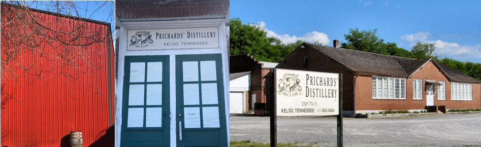 Prichard's Distillery   in  Kelso, Tennesee opened in 1997  in the old school house. Pictured above are one of its Warehouses, Front Door and parking lot entrance.