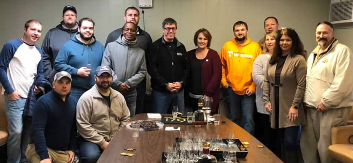 Some of the Staff and Administration of Whiskey University pictured above in the Getz Conference Room at Barton/1792 with Master Distiller Daniel Kahn in November 2018. Pictured standing from left to right;   Professor Lt. Colonel Christopher Hart, Casey Williams, Bobby Graham, Devere Walker, Dakota Mercer, Master Distiller Danny Kahn,   our Tour Historian Suzanne,   Professor Lt. Colonel Carl Ingrum, John Hunter, Monya Hunter, Administrator Melissa Duncan   and   Professor Colonel Craig Duncan.