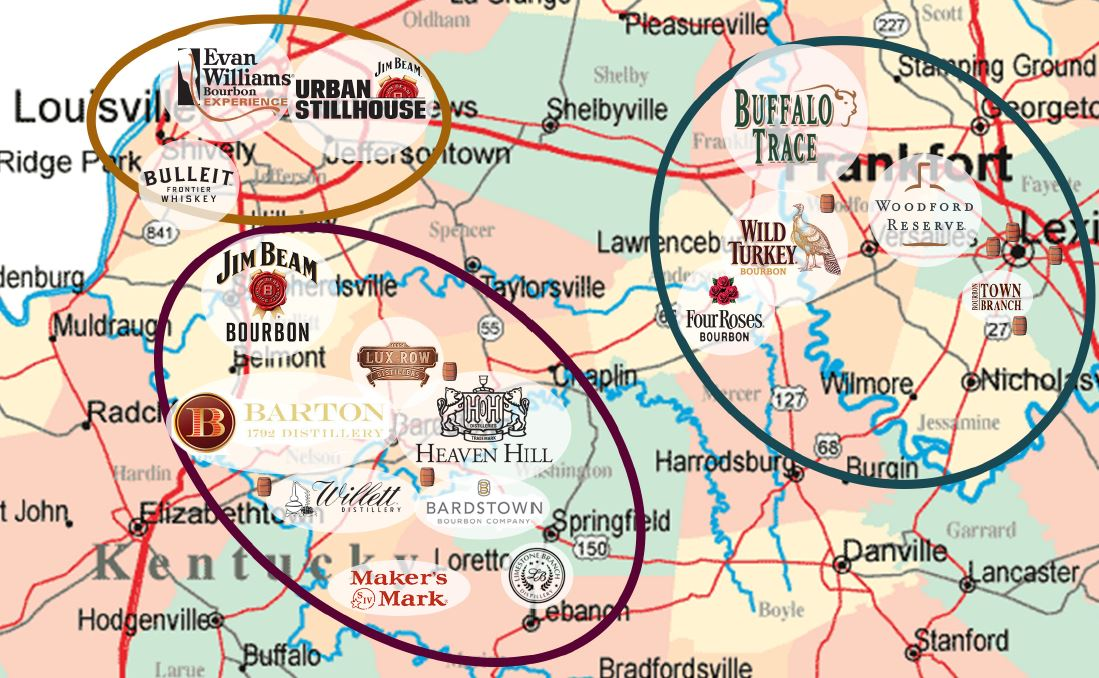 The 3 Bourbon Making Regions of Kentucky;  1.)   The Bourbon Capital Region  , in and around Bardstown, Kentucky;  2.)   The Bluegrass Region  , in and around Lexington, Kentucky; and  3.)   The Whiskey Row Region  , in and around Louisville, Kentucky