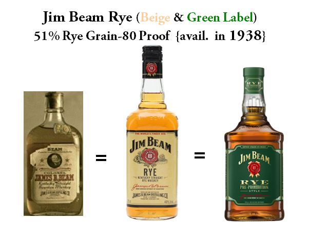 Original Version of James Beam Rye introduced in 1938, 1980's Version of Jim Beam Rye (Beige Label) and the current bottle for Jim Beam Rye Pre-Prohibition Style (Green Label). All three versions are made with exactly 51% Rye Grain and Bottled at 80 Proof and Aged 3 to 4 Years.