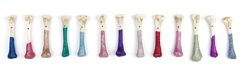Glitter Bones (for New Orleans), chicken bones, fine glitter, steel nails