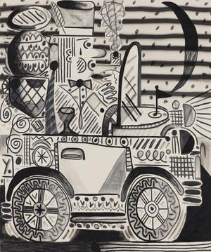 "On The Road Again Austin Eddy 2014 Charcoal and acrylic on canvas 48"" x 40"""