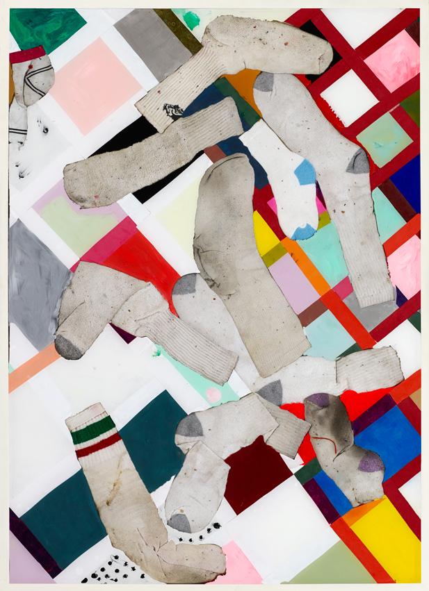 "Untitled Brian Belott 2014 Mixed media, reverse glass technique 33"" x 45.5"""