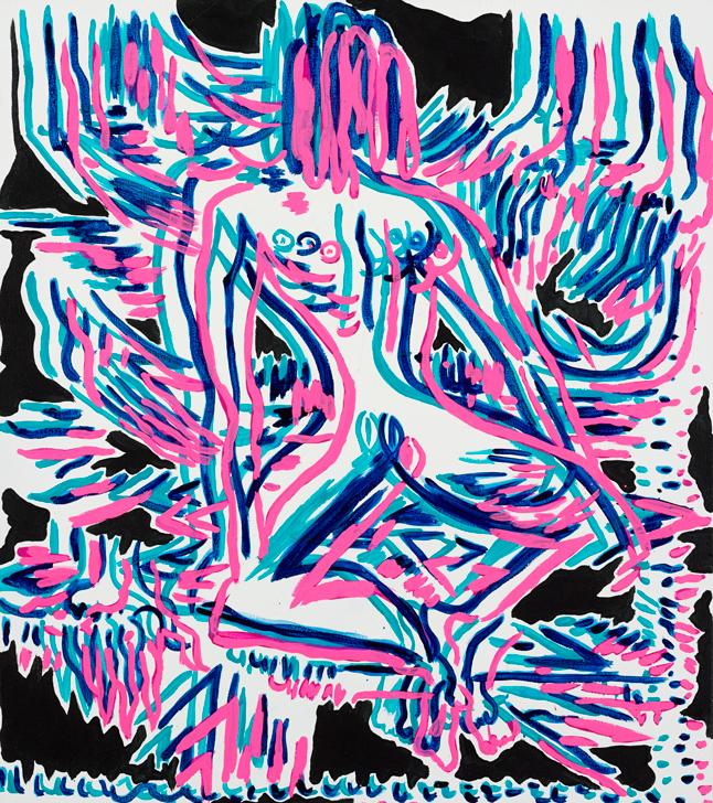 "Open Rope Pose Mira Dancy 2014 Acrylic on canvas 26"" x 23"""