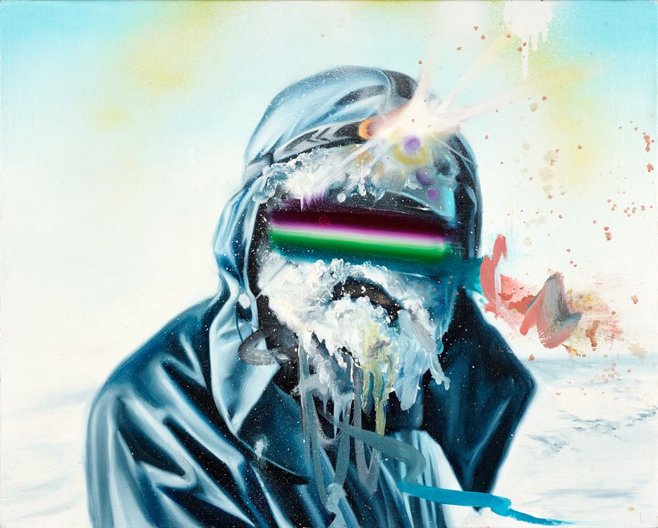 """Mountain Man Matt Lifson 2011 Oil and spray paint on canvas 20"""" x 16"""""""