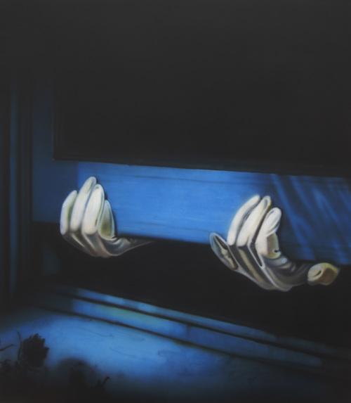 Sayre Gomez,  Thief Painting , 2012. Acrylic on canvas, 72 x 62 in (182.9 x 157.5 cm).
