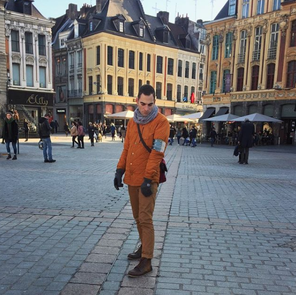 Zachary Trebellas in Lille, France wearing works by Megan Roach of  @adventuretextiles