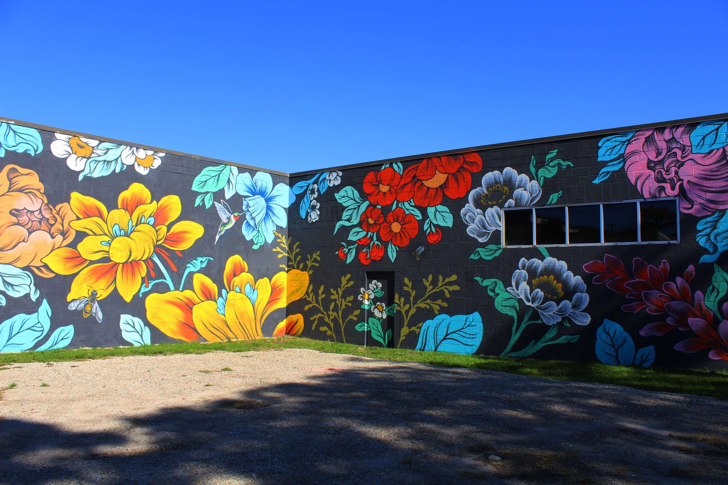 Ouizi floral mural on exterior of Grand Rapids Ballet for Exit Space Project