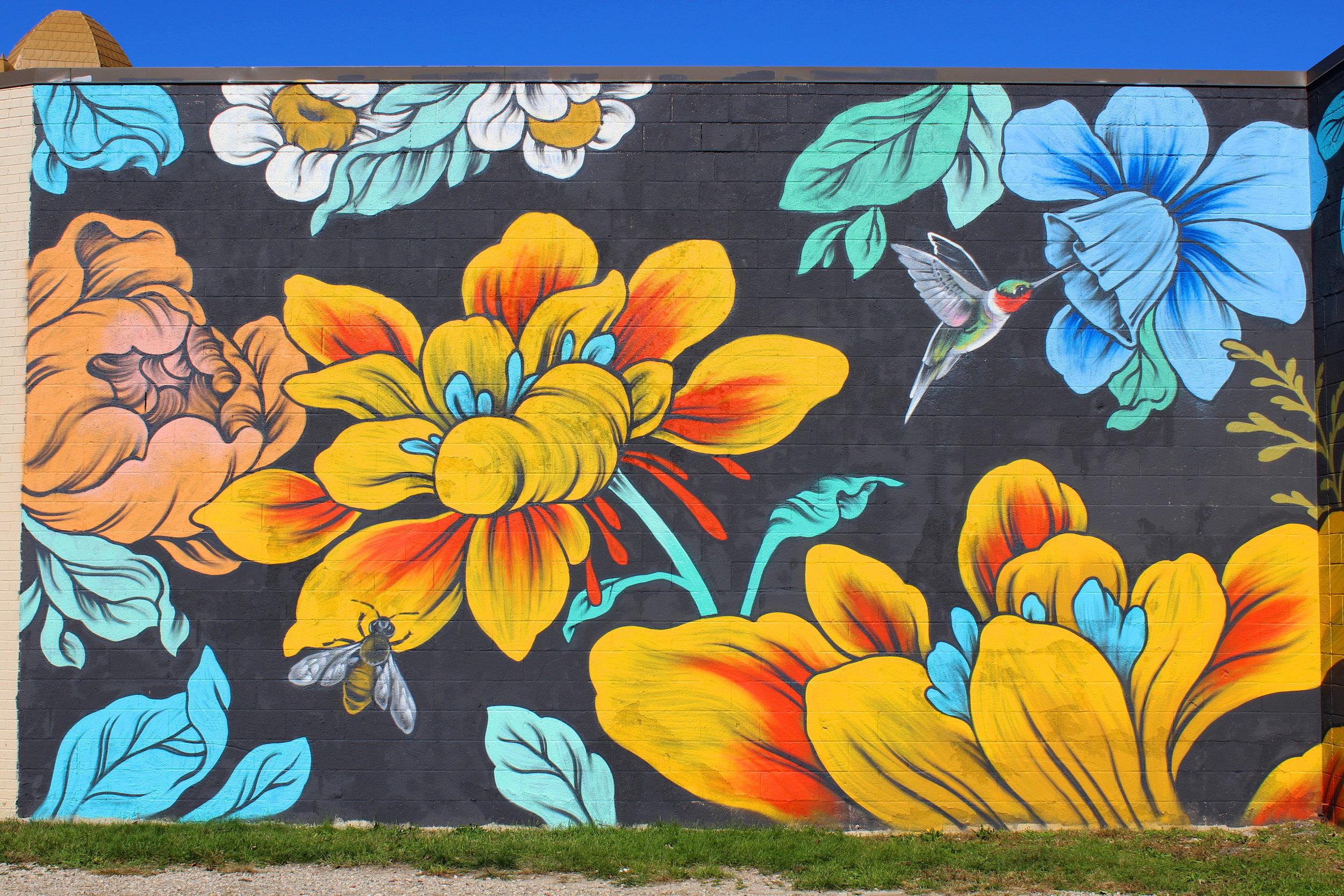 Ouizi floral mural on exterior of Grand Rapids Ballet