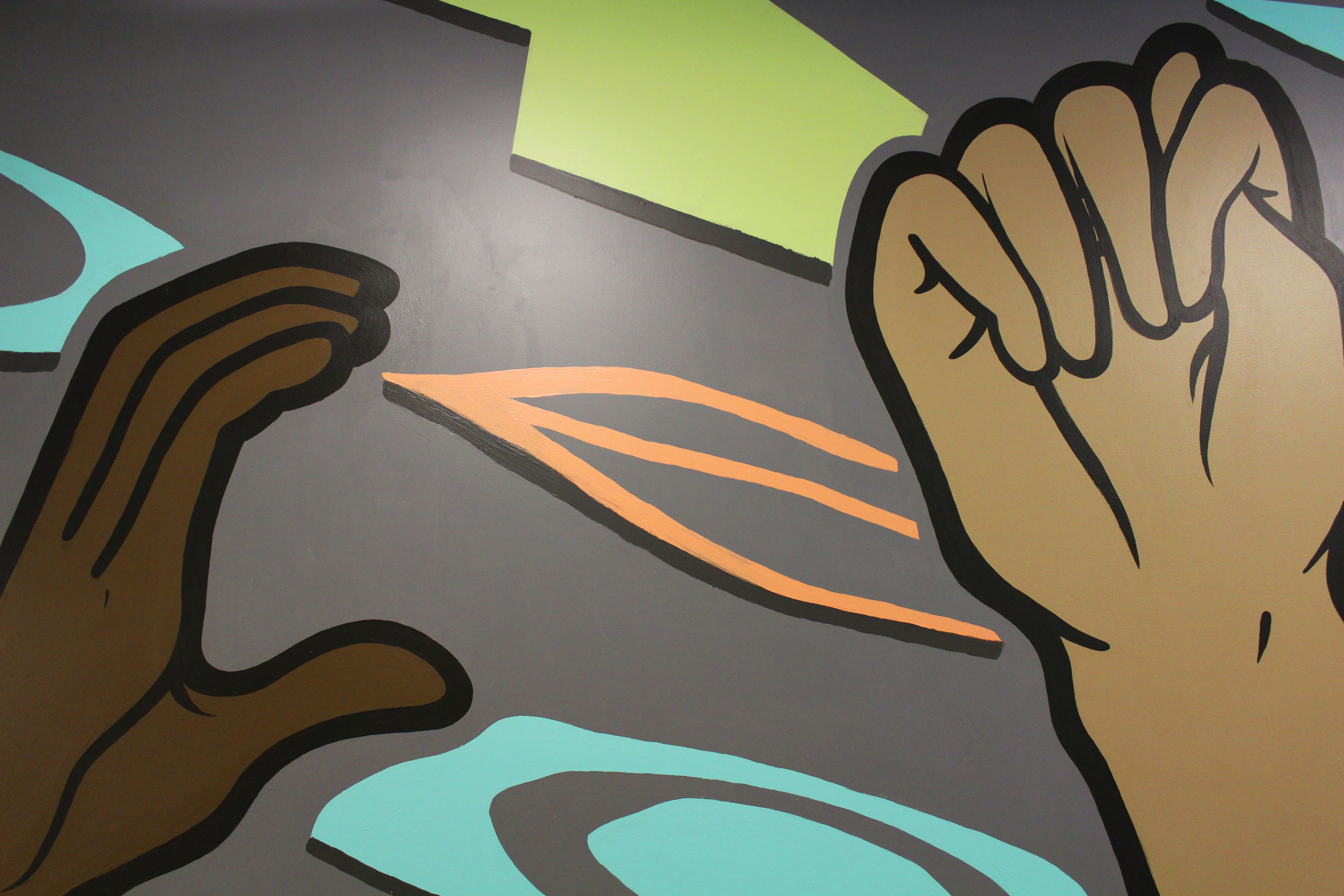 Hand sign detail for Artworks mural
