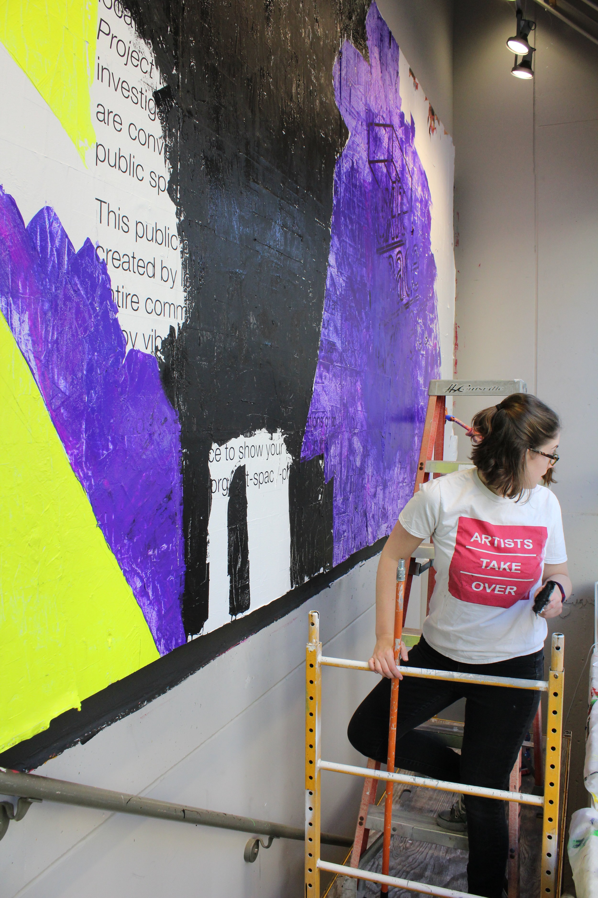 Process of Garman, Lloyd, and Stone installing mural in Exit Space Stairwell