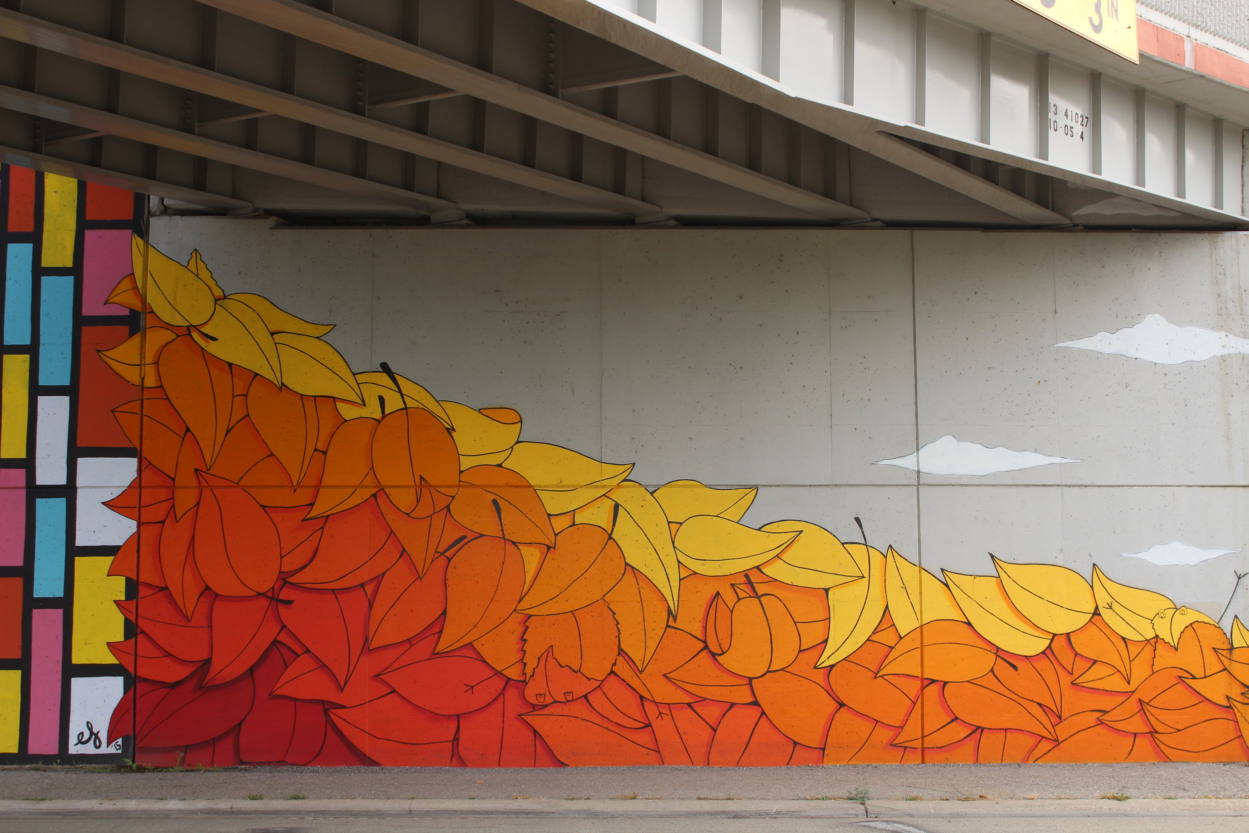 Leaf detail of retaining wall mural