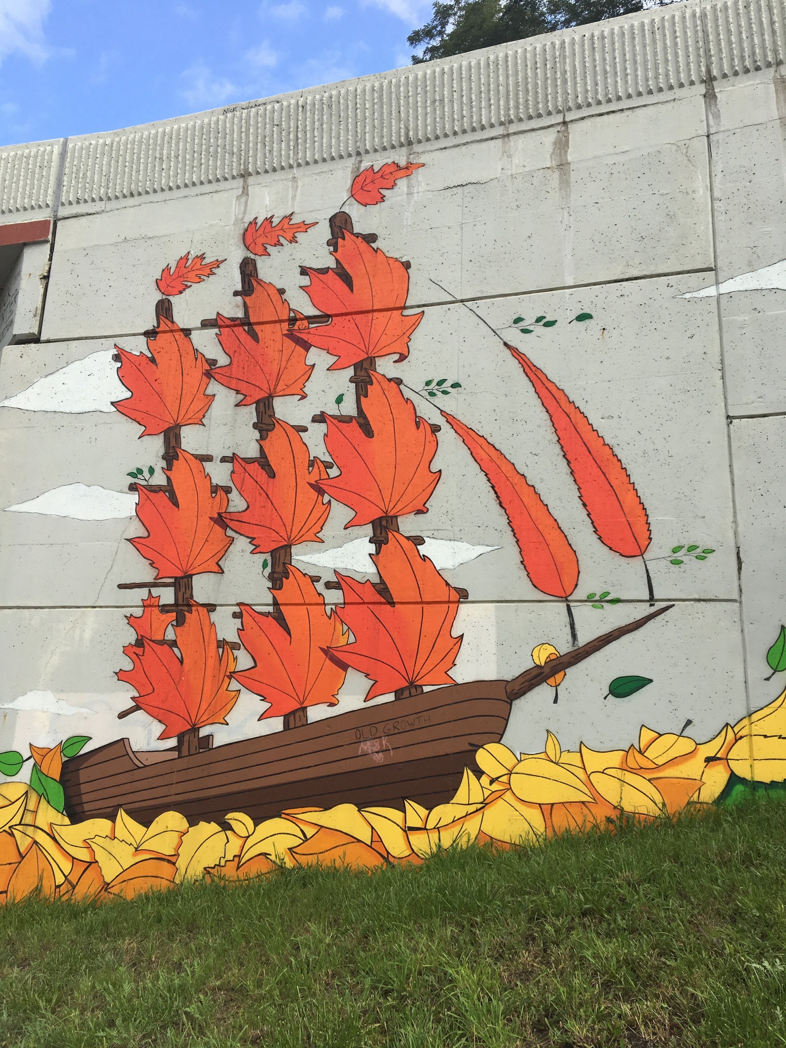 Ship made of leaves mural detail
