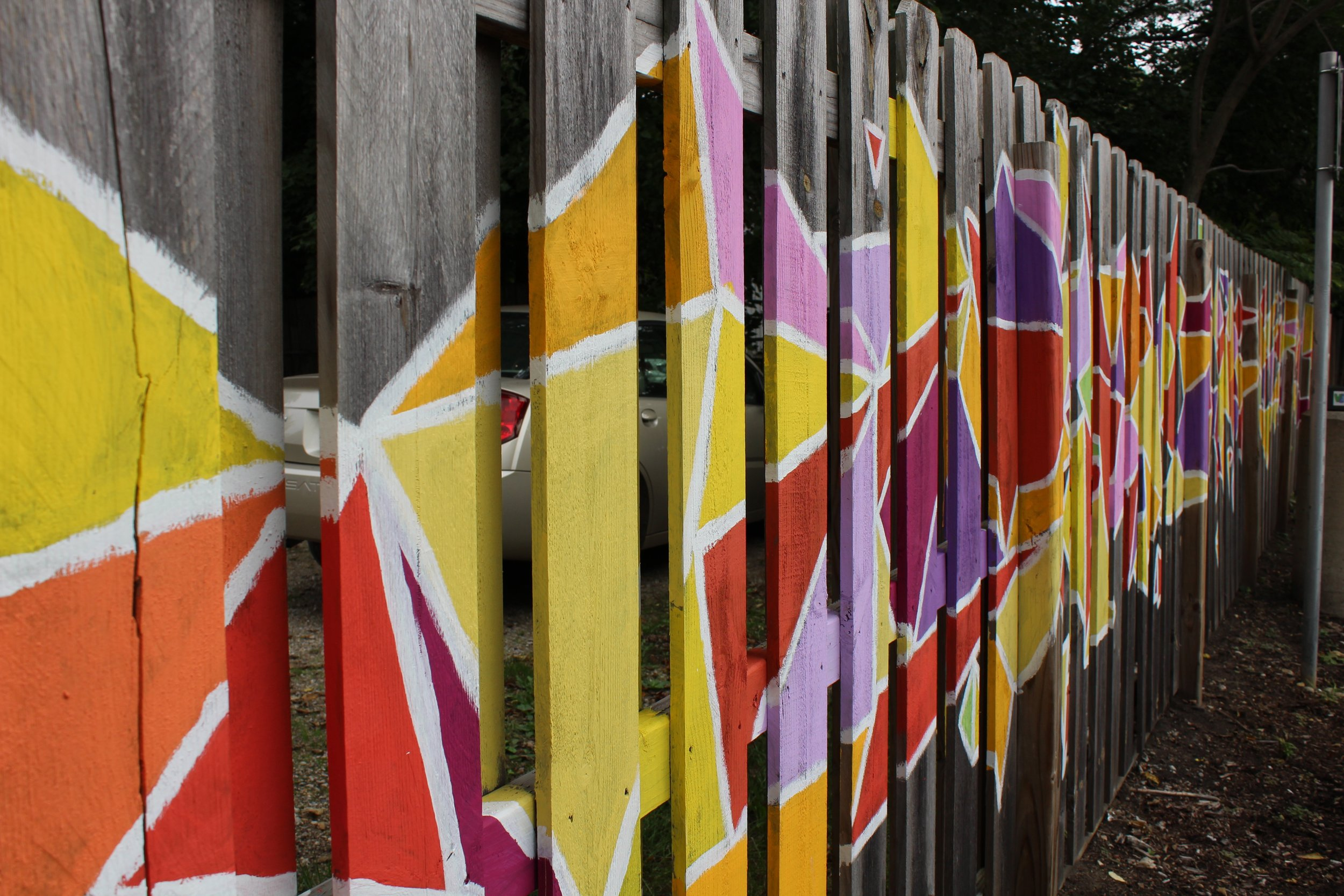 Geometric fence detail of mural
