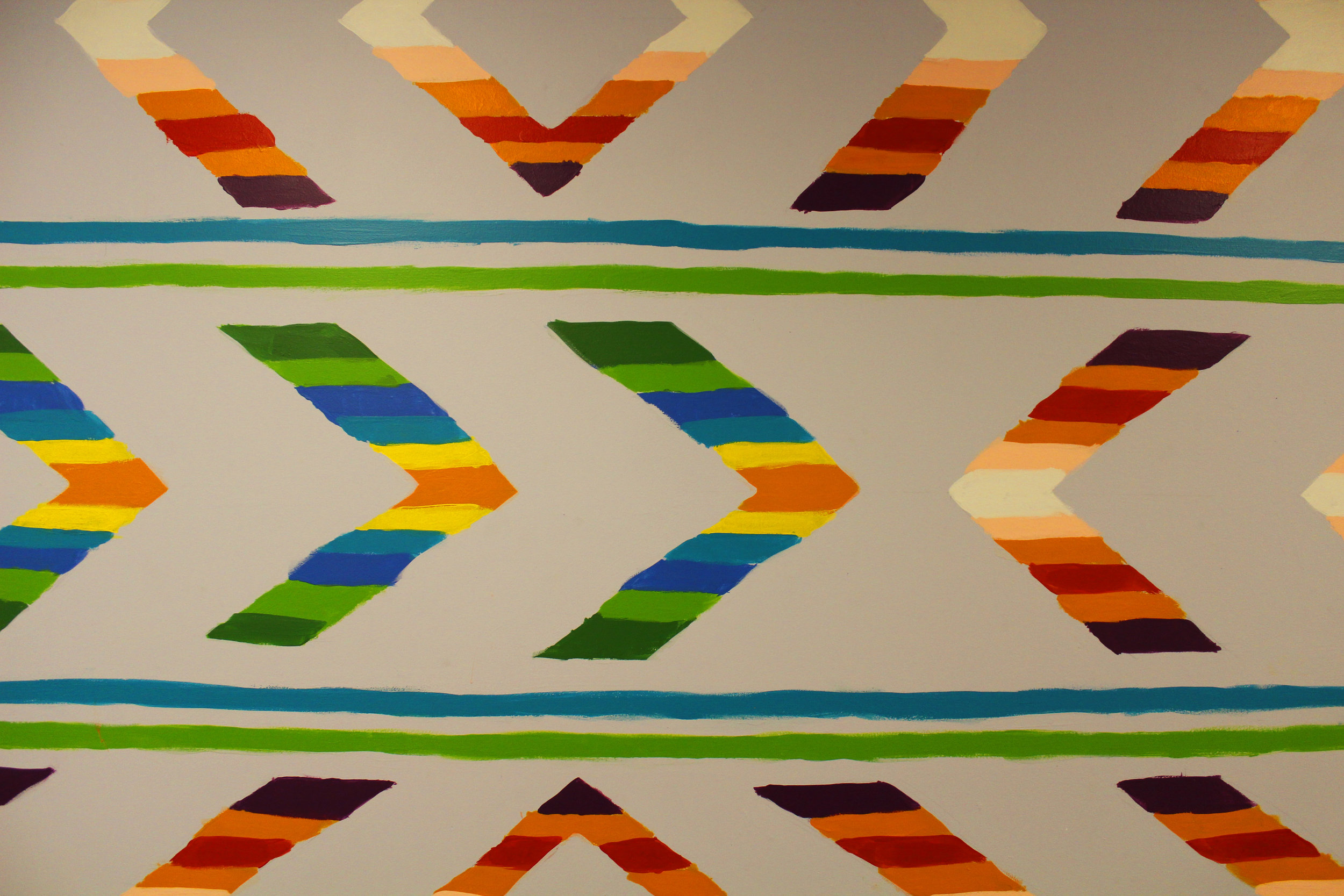 Geometric detail of mural in Gallery parking ramp