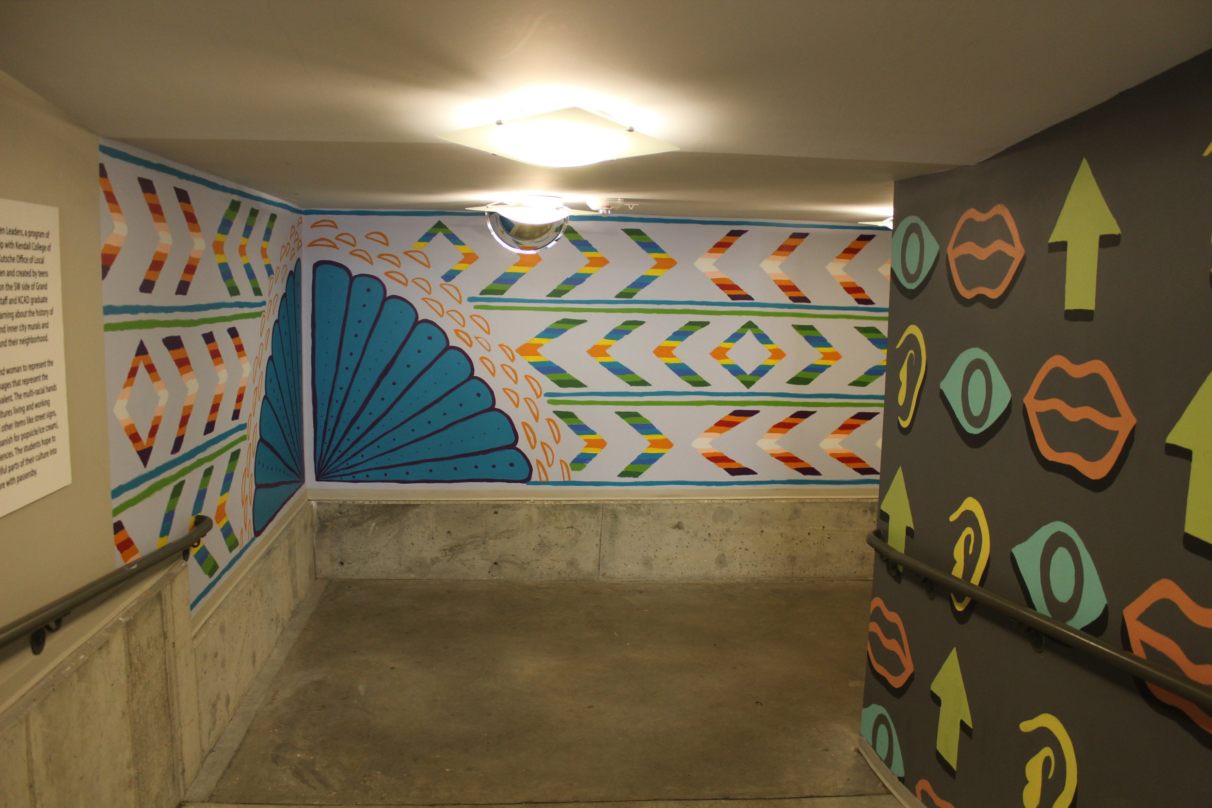Textile inspired mural in Gallery parking ramp
