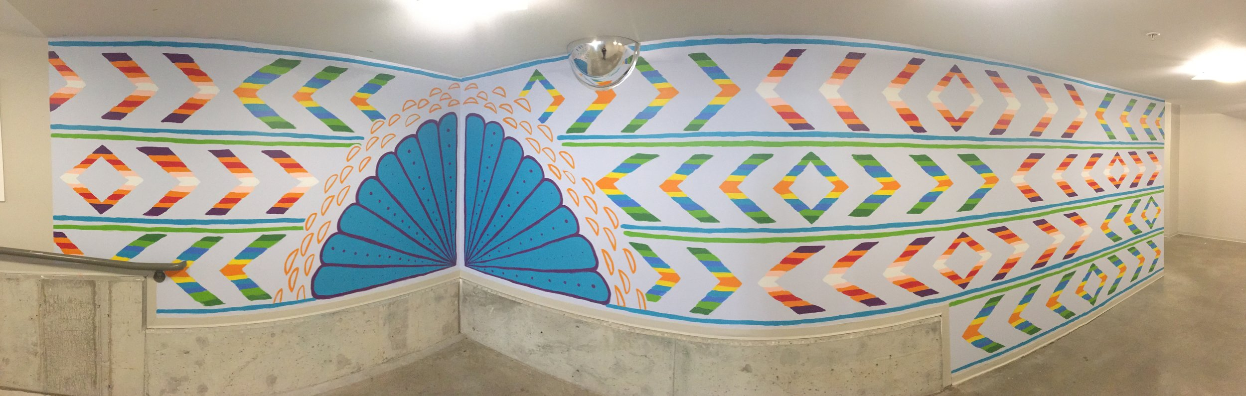 Textile inspired mural in Gallery parking ramp - panoramic view