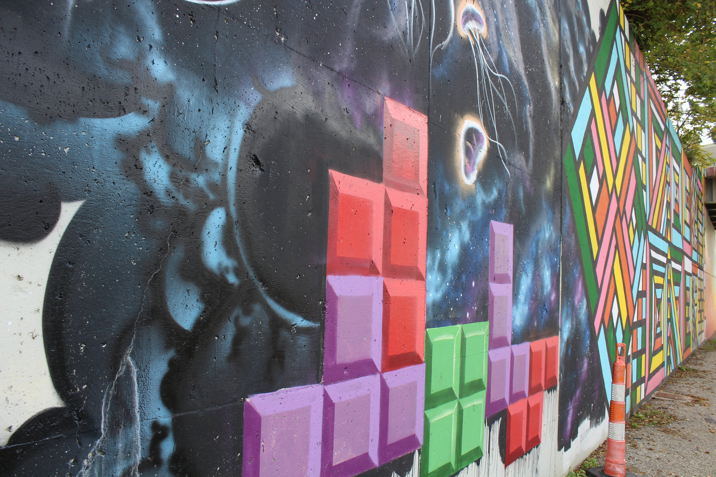 Tetris detail of mural on retaining wall of I-196